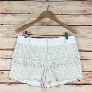LOFT Crochet Shorts Layered Cream Scalloped Size 4